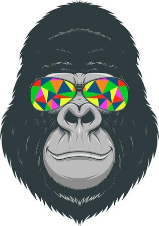 gorila: ilustración, gorila divertido con vidrios de color Vectores