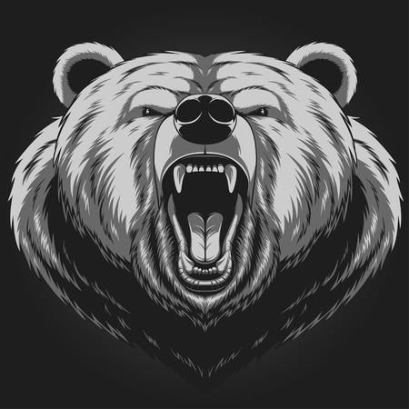 cabeza: Ilustración del vector, cabeza de la mascota del oso enojado