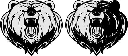 oso caricatura: Ilustraci�n del vector, enojado mascota cabeza de oso, mascota de la cabeza