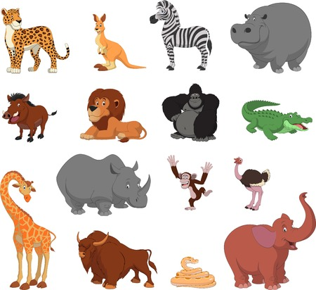 Vector illustration set of funny exotic animals Çizim