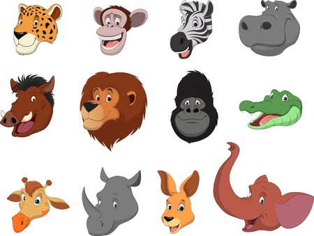 head set: Vector illustration set of funny exotic animals Illustration