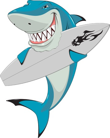 Vector illustration, funny white shark with a surfboard Vettoriali