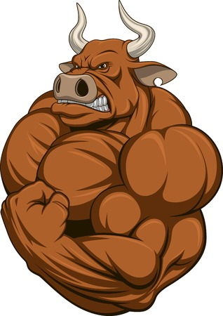 strong: Vector illustration of a strong bull with big biceps Illustration