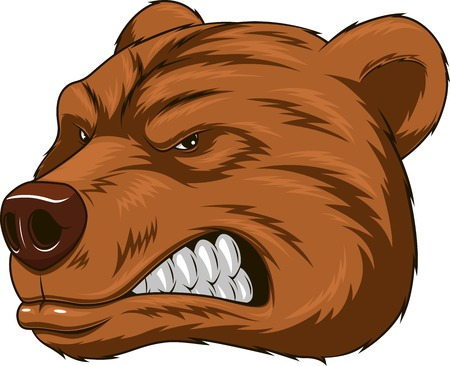 grizzly: Vector illustration, Angry tête d'ours mascotte, tête mascotte