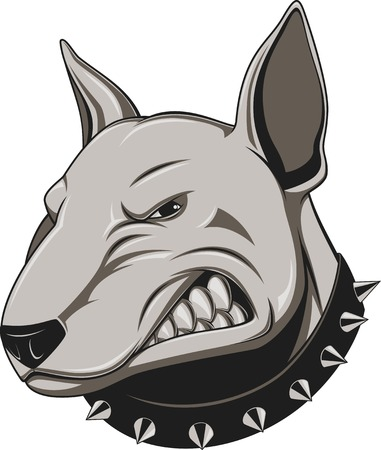 Vector illustration Angry dog mascot head, on a white background Vettoriali
