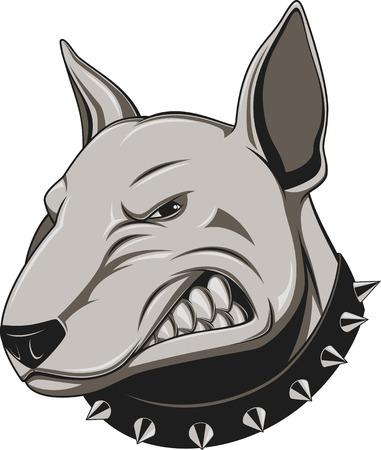 perro furioso: Ilustración vectorial cabeza de la mascota perro enojado, sobre un fondo blanco