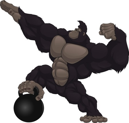 monos: Ilustración del vector, gorila que muestra su bíceps, peso