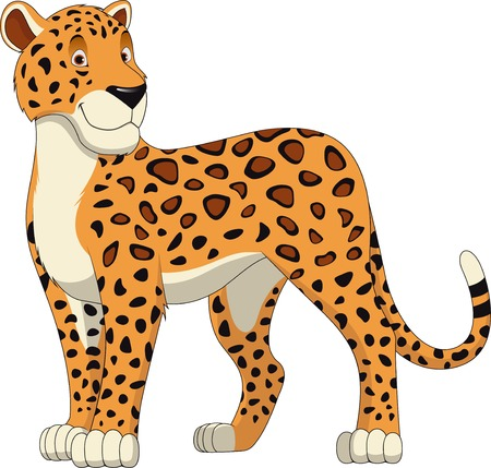 leopard: Leopard Walking, wild big cat realistic vector illustration