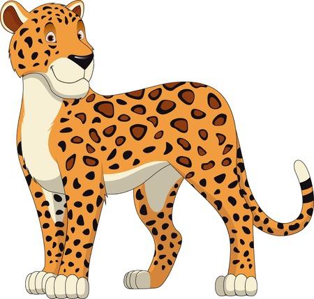 Leopard Wandelen, wilde grote kat realistische vector illustratie