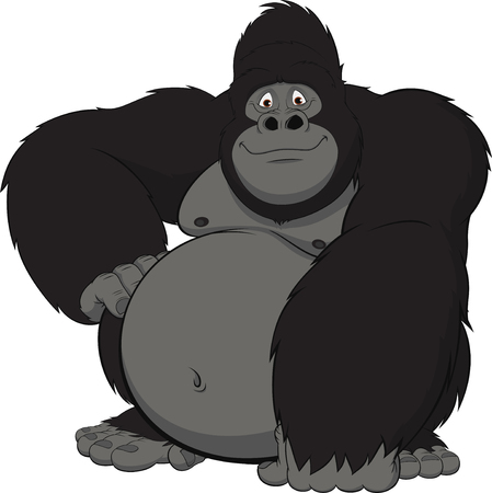 Vector illustration of funny gorilla sitting and smiling Ilustração