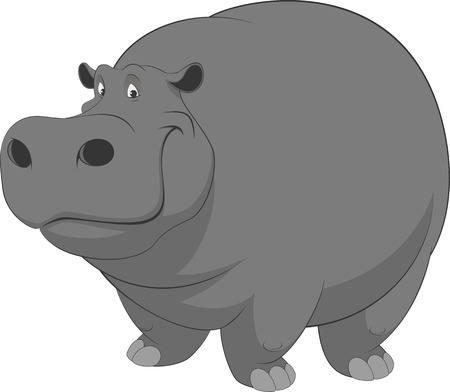 behemoth: Vector illustration, cute smiling hippo on white background Illustration