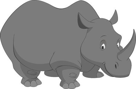 babyish: Vector illustration, funny rhino on a white background Illustration
