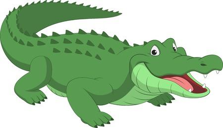 cocodrilo: Ilustración del vector, cocodrilo divertido sobre un fondo blanco