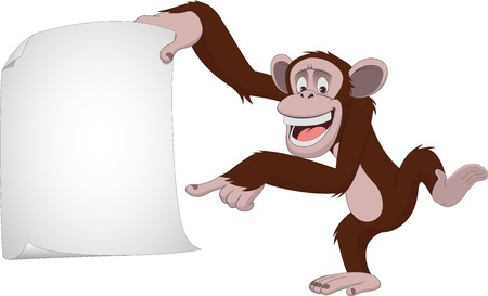 Vector illustration, funny chimpanzee on a white background, cartoon Çizim