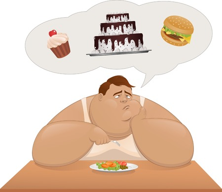 Vector illustration, fat man eating vegetables and dreaming of sweets Vector