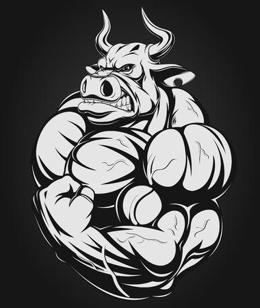 caricaturas de animales: Ilustraci�n vectorial de un fuerte toro con grandes b�ceps Vectores