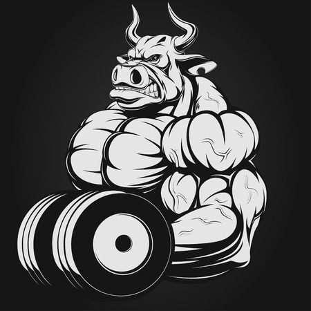 strong bull: Vector illustration, strong bull doing exercise with dumbbells for biceps