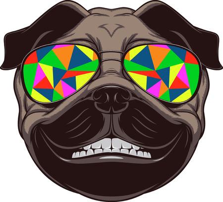 perros graciosos: Ilustración del vector del barro amasado divertido sonriente sobre un fondo blanco Vectores