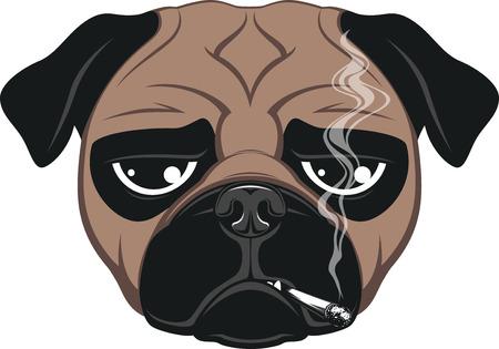 Vector illustration of funny dog smoking a cigarette