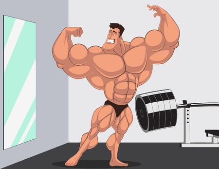 uomo rosso: Illustrazione vettoriale, bodybuilder posa davanti a uno specchio, cartone animato Vettoriali