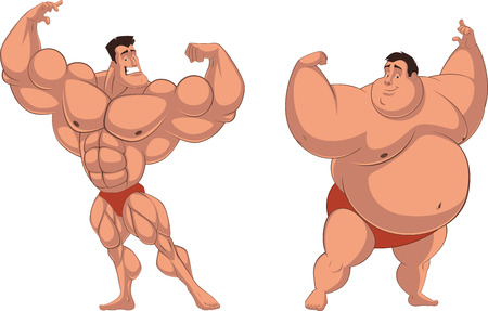 sex man: Vector illustration of an athlete and I pose fat