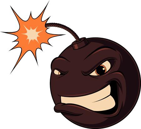 Vector illustration,very evil cartoon bomb ready to explode