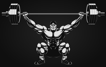 barbell: Illustration a ferocious bodybuilder with a barbell