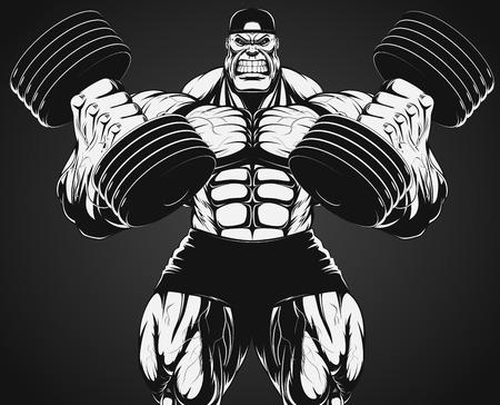 bodybuilder: Ilustración del vector, culturista haciendo ejercicio con pesas para bíceps