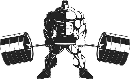 Vector illustration, bodybuilder performs an exercise with a barbell