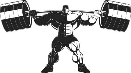 culturista: Ilustración del vector, culturista realiza un ejercicio con una mancuerna