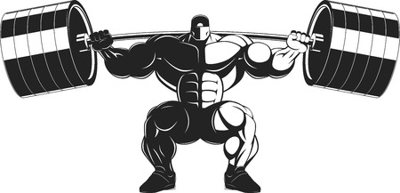 bodybuilding: Vector illustration, bodybuilder performs an exercise with a barbell