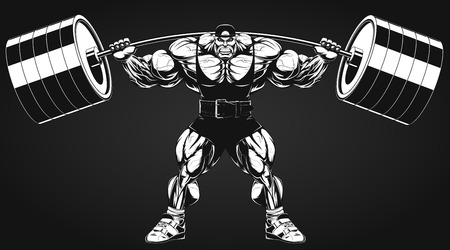 hunk: Vector illustration, bodybuilder performs an exercise with a barbell