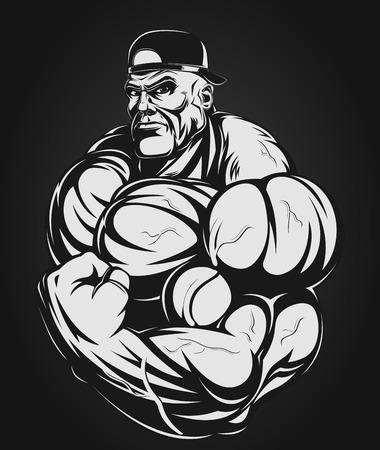 culturista: Bodybuilder que muestra los músculos grandes, ilustración vectorial