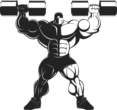 bodybuilding: Vector illustration, bodybuilder doing exercise with dumbbells for biceps Illustration