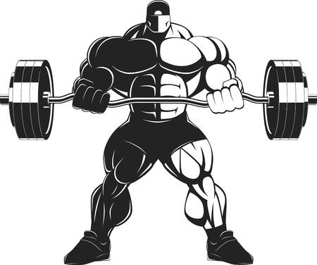 bodybuilder: Illustratio, un culturista feroz con una barra