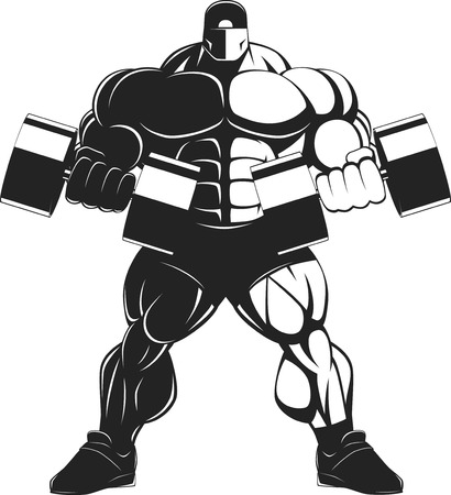 Vector illustration, bodybuilder doing exercise with dumbbells for biceps