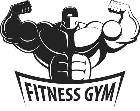 Bodybuilder posing showing big muscles,  illustration vektor Vettoriali