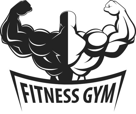 Bodybuilder posing showing big muscles,  illustration vektor Illustration