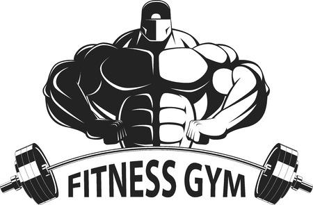 Bodybuilder posing showing big muscles,  illustration vektor 일러스트