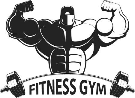 hunk: Bodybuilder posing showing big muscles,  illustration vektor Illustration