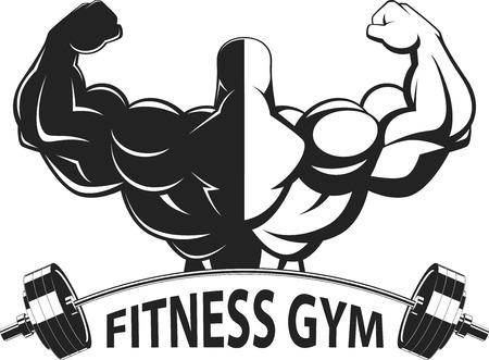 uomo rosso: Bodybuilder mostrando grandi muscoli, illustrazione vettoriale
