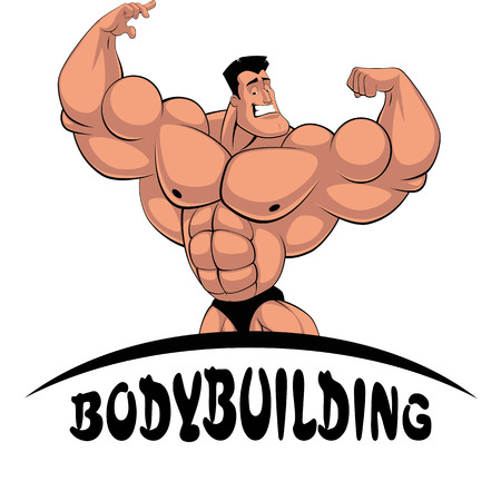Vector illustration, cartoon bodybuilder shows muscles, at the bottom of the inscription