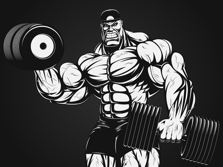 Vector illustration, bodybuilder doing exercise with dumbbells for biceps Иллюстрация