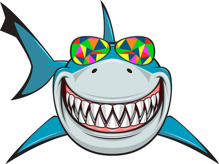 dientes caricatura: Ilustración del vector, dentudo sonrisa de tiburón nada blancas en vidrios de color