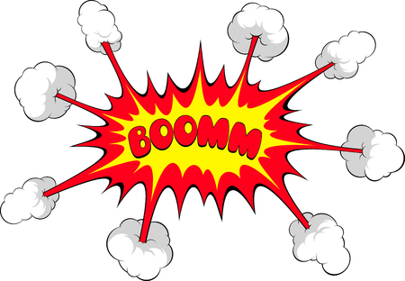 Vector illustration, funny drawn explosions in retro style, Boom Vector