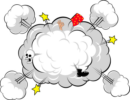Vector illustration, funny drawn explosions in retro style Vector