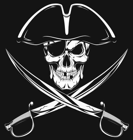 drapeau pirate: Vector illustration d'un crâne de pirate mal dans le chapeau
