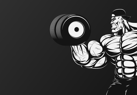 Vector illustration, bodybuilder doing exercise with dumbbells for biceps Vectores