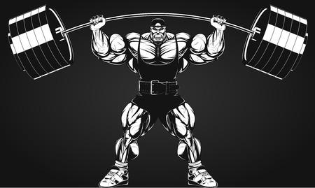 cuerpo hombre: Ilustración del vector, culturista realiza un ejercicio con una mancuerna