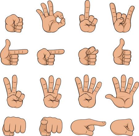 Ilustración del vector, mano de dibujos animados que muestra diversos gestos